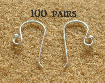 925 Sterling Silver Earring Hooks - EARWIRES WITH BALLS 21 Gauge - 100 Pairs(200 pieces)