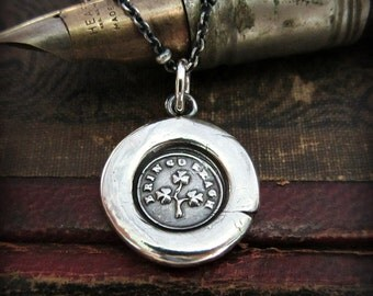 Shamrock Wax Seal Necklace - Erin Go Bragh - Ireland Forever Necklace - Irish Necklace V1220