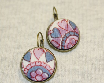Batik Earrings Eco Friendly Upcycled Fabric Button Dangles India Style Purple and Blue