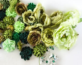 GRAB BAG no. 33 - Over 50 Medium Size Green Shades Flowers and misc - Silk Artificial Flowers