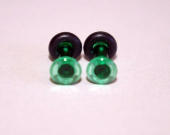 10g Green Glass Plugs Body Jewelry 10 Gauge 2.5mm Piercing