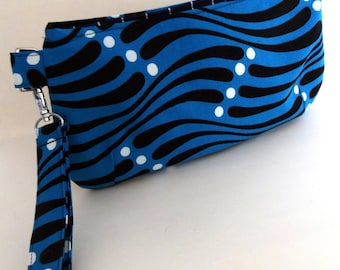 Turquoise, Black and White Dot Coraline Wristlet/Clutch,  Turquoise and Black Strip Clutch Wristlet, Coraline Clutch Wristlet, Swoon Pattern