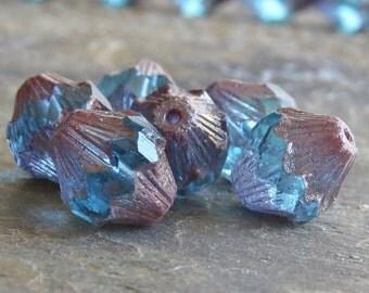Aqua Copper Czech Glass Bead 13x11mm Carved Baroque Bicone : 6 pc Blue Copper Bead