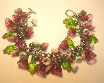 Pink Bellflower Lampwork Charm Bracelet
