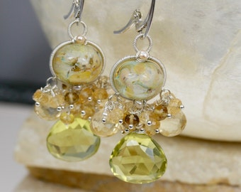 Lampwork Earrings - Gemstone Earrings - Wire Wrapped Earrings - Dangle Earrings - Lemon Quartz Earrings - Lemon Quartz Earrings