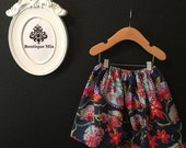 Will fit Size 3T to 5T - READY to MAIL - Children Skirt - Asian Inspired Print - by Boutique Mia and More
