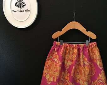 Will fit Size 4T to 6 yr - READY to MAIL - Children Skirt - Orange and Pink Damask - by Boutique Mia and More