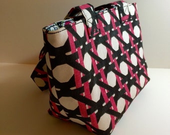 Mini Tote - Pink Black & Cream Lattice - Purse - Handbag - Gift - Holiday - Christmas