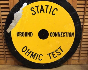 "Free Shipping  Round Static Test Sign perfect for ManCave or Teen room Yellow and Black 22"" dia"