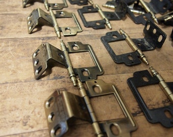 Free Shipping Vintage brass finish Cabinet Door Hinges lot of 6 Hinge