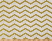 GOLD CHEVRON Fabric,  Yardage Fabric by the half or full yard, metallic chevron on white,  cotton