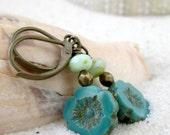 Teal Earrings - Beaded Earrings - Short Teal and Mint Green Earrings - Dangle Earrings - Hypoallergenic Earrings - Blue and Teal Series