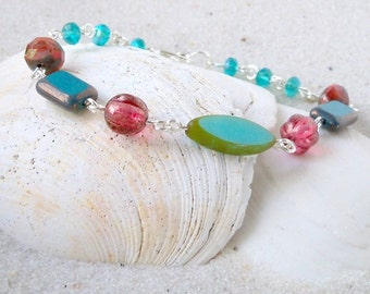 Turquoise Bracelet - Gift Idea - Beaded Jewelry - Bead Bracelet - Handmade Bracelet - Retro Bracelet - Turquoise, Teal and Orange Bracelet