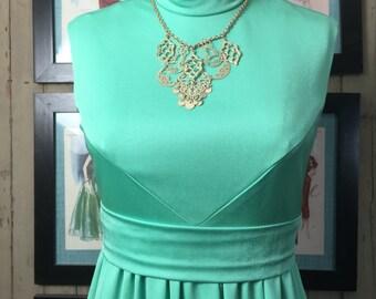 Fall sale 1960s dress maxi dress green dress sleeveless dress size medium Vintage dress high neck dress 60s dress hostess dress