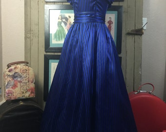 1980s party dress 80s prom dress size medium Vintage striped gown blue satin gown