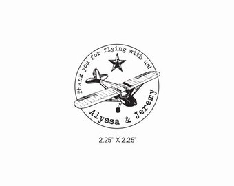 Custom Airplane Wedding Birthday Anniversary Party Rubber Stamp AD390