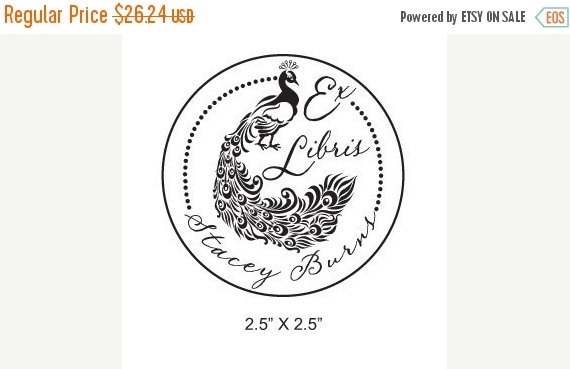 Xmas in July Peacock and Calligraphy Personalized Ex Libris Rubber Stamp H36