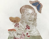 Maria Sibylla Merian Linocut Portrait of the Entomologist and Scientific Illustrator, History of Science, Lino Block Print Women in Science