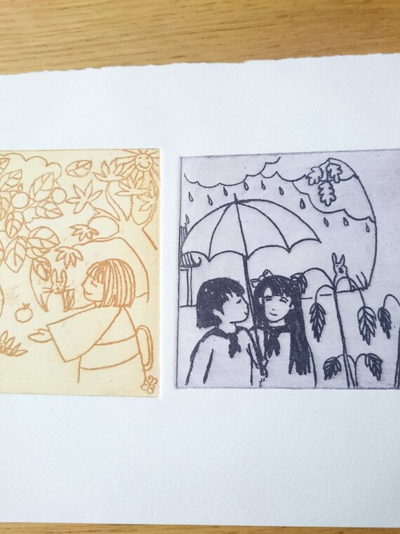 Love in the rain and sun etching, hand pulled print, hand drawn etching