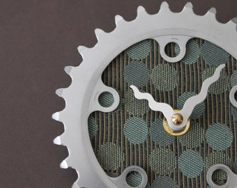 Bicycle Gear Clock - Blue Circles II | Bike Clock | Wall Clock | Recycled Bike Parts Clock