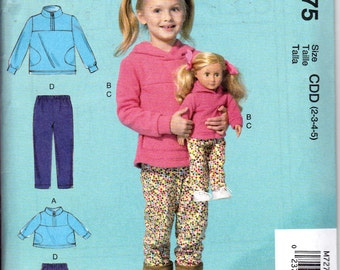 """McCalls 7275 Girls & 18"""" Dolls Matching Top Pants Trousers Sewing Pattern Sizes 2-5 NEW"""