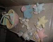 vintage 6 piece Gund  Baby's Ark. plush ark & animals,squeaks,rattles reserved Phyllis114