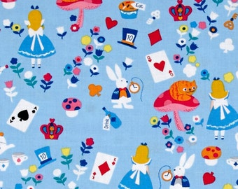 Timeless Treasures Alice In Wonderland Blue ***free SHIPPING in USA