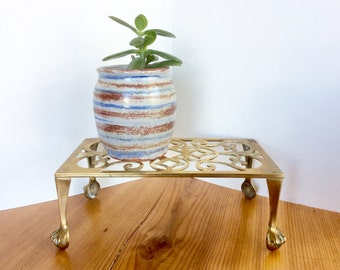 Brass Plant Stand with Claw Feet. Brass Planter Stand. Gold Decor. Rectangular Book Stand / Mini Table with Claw Foot Legs.
