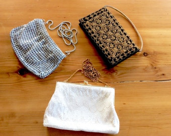 Vintage Evening Bags. India Embroidered Gold on Black Velvet Clutch, Shimmering White Glass Beaded Snap Purse, Grey NHL Mesh.