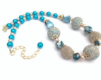 Blue Necklace, Chunky Necklace, Turquoise Blue Beaded Necklace, Gift For Her, Single Strand Necklace, Blue Statement Necklace, Blue Jewelry