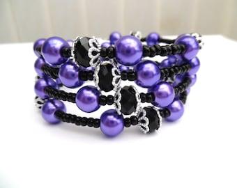 Purple and Black Bracelet, Wrap Bracelet, Bangle Style, Bridesmaids Jewelry, Plus Size Bracelet, Chunky Bracelet, One Size Jewelry, Wedding