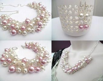 Pink and Ivory Pearl Crystal Beaded Jewelry Set, Necklace Bracelet and Earrings, Cluster Jewelry, Pink Wedding Set Bridesmaids Gifts, Chunky