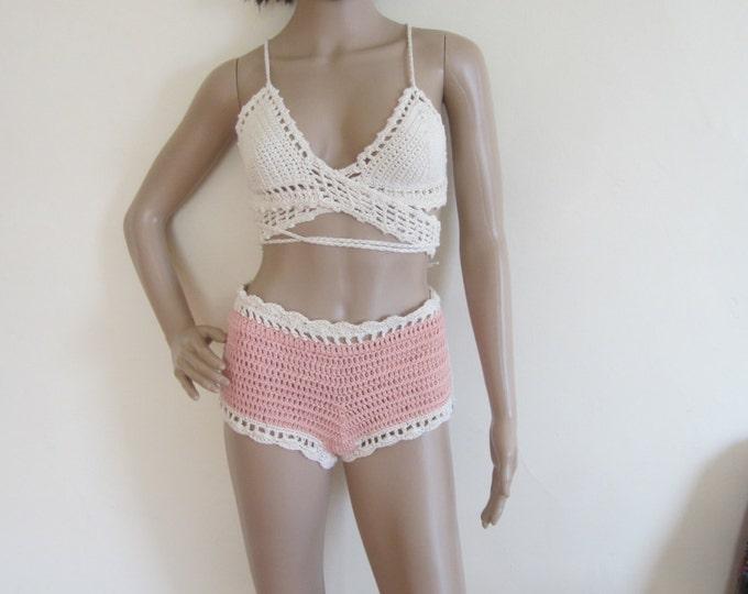 HIGHWAIST CHEEKY SHORTS,  crochet shorts, summer short,bikini cover,  beach cover up,  shorts, festival clothing, gypsy, boho,