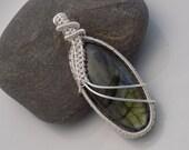 Labradorite Silver Pendant Wire Wrapped Jewelry Handmade Beautiful Green Blue Flash Scifi Medallion Fantasy Amulet Wire Weave Pendant