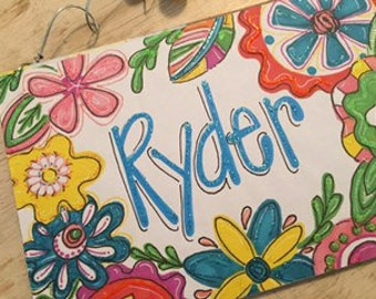 Hand personalized adorable flower sign bright and fun