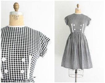 50s gingham dress | vintage 1950s black & white check dress | vtg 50s day dress | small