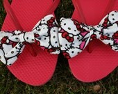 Hello Kitty inspired Flip Flop Sandals Licensed fabric handmade to your shoe size