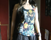 Marvel Comic tank top halter neck upcycled small medium large xlarge plus size 3xl