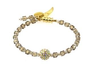 Smokey Gold Bracelet / Beaded Bracelet