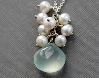 Aqua Chalcedony Pearl Cluster Pendant, Aqua Gemstone Pearl Necklace, Destination Wedding, Bridesmaid Gift
