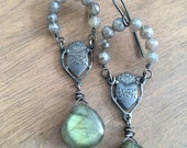 Sterling Silver and Labradorite Religious Earrings