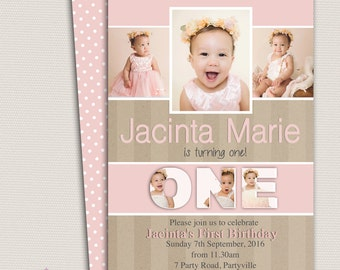 First Birthday Invitation, Personalised Invitation, Girl birthday invitation, First Birthday Invitation, 2nd Birthday, 3rd Birthday, Collage