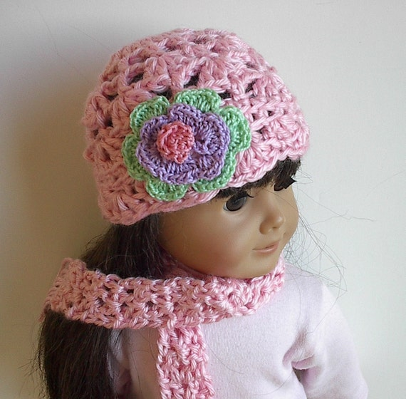 18 inch doll clothes crocheted hat and scarf set in light