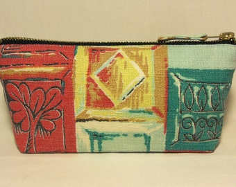 Mid Century 1950's Abstract Fabric Make Up Bag in Vintage Bark cloth, Mediterranean print