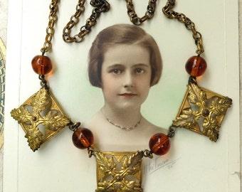 Vintage Brass Necklace Links Glass Beads