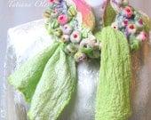 Nuno Felt Scarf Shibori  Flowers Garden Silk Gauze  Merino wool Fiber Art Art to wear outstanding accessories