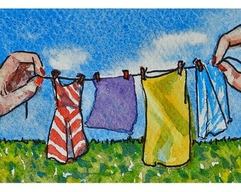 ACEO Original, Laundry, Clothesline, ACEO card, Washday Painting Art, Funny, Clothes Line Holding Hands, Gifts For Mom, Gifts Under 20