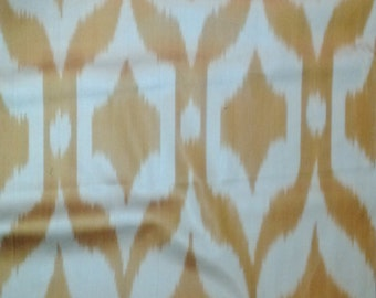 Silk Ikat Handwoven Orange Gold Cream