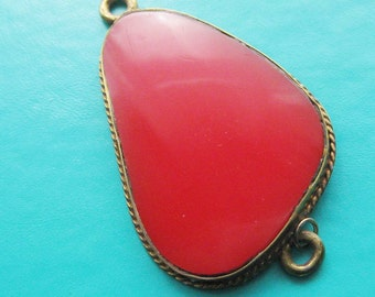 brass and red  resin Link pendant on SALE