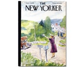 New Yorker Magazine Cover ONLY Vintage Original artist Barlow 6-4-49 Moving Day